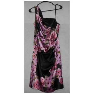 Maggy L London Floral Shirred One Shoulder Dress